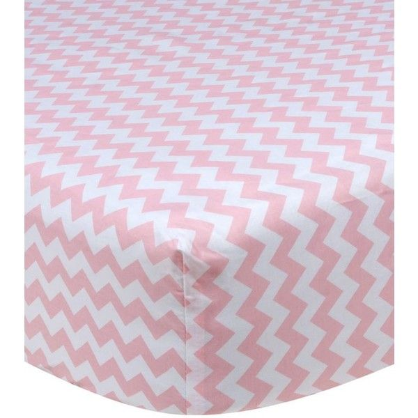 Trend Lab Pinkwhite Pink Sky Chevron Crib Sheet ($29) ❤ liked on Polyvore featuring home, children's room, children's bedding and baby bedding