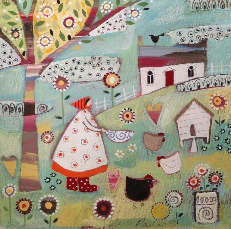 Three Hens Original by Louise Rawlings