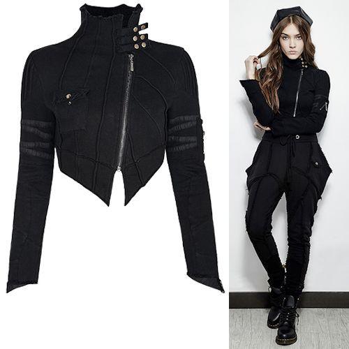Black Asymmetrical Cropped Gothic Punk Rock Fashion Jackets Women SKU-11401002