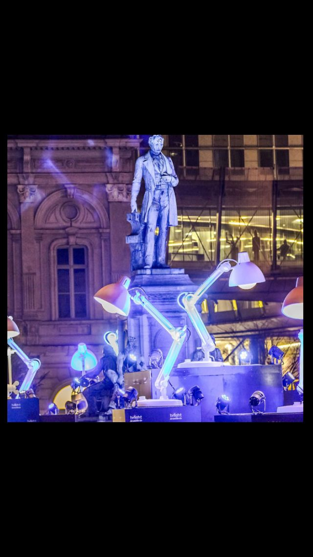 14 big lamps from Mal. The Lummel giant desk lights were used at Bright Brussel light festival.