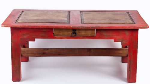 Red Rustic Coffee Table By Foxdendecor On Etsy