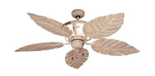 "52"" Venetian Tropical Ceiling Fan with Internal Light in Driftwood - Ceiling Fan With Leaves - Amazon.com"