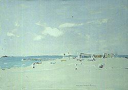 La Spiaggia. Ancona, Rossini Francesco, olio su tela,cm.50x70, 1986.