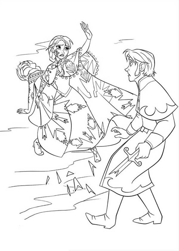 Anna Protecting Elsa From The Duke Of Weseltons Thugs Coloring Page Free Printable Frozen Pages