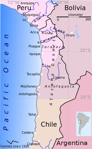 War of the Pacific-- (Spanish: Guerra del Pacífico), took place from 1879 to 1883, with Bolivia & Peru on one side and Chile on the other. The war ended with a Chilean victory, which gained a significant amount of land from Peru and Bolivia. Battles were fought in the Pacific Ocean, the Atacama Desert, Peru's deserts, and mountainous regions in the Andes. For the first five months the war played out in a naval campaign, as Chile struggled to establish a sea-based resupply corridor for its…
