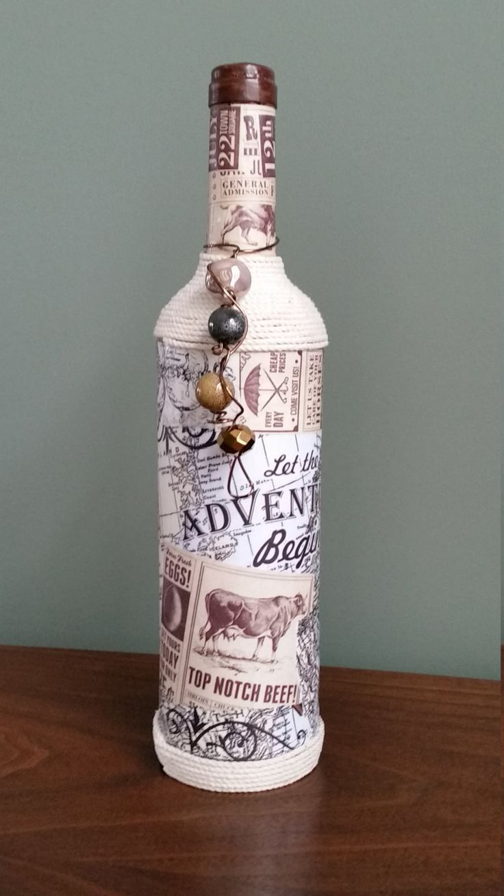 Altered Wine Bottle, Decorative Bottle, Mixed Media Art, Collage Art, One of a Kind, Home Decor, Office Decor, Gifts for Him by TheInspiredCrafter on Etsy