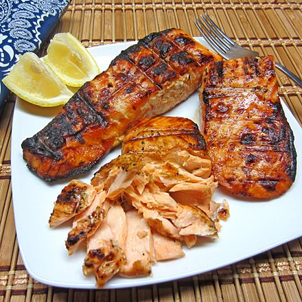 What an awesome marinade for salmon. This adds such a deliciously sweet flavor to the salmon. And of course, grilling with charcoal always adds a nice flavor to whatever you have on the grill. So, ...