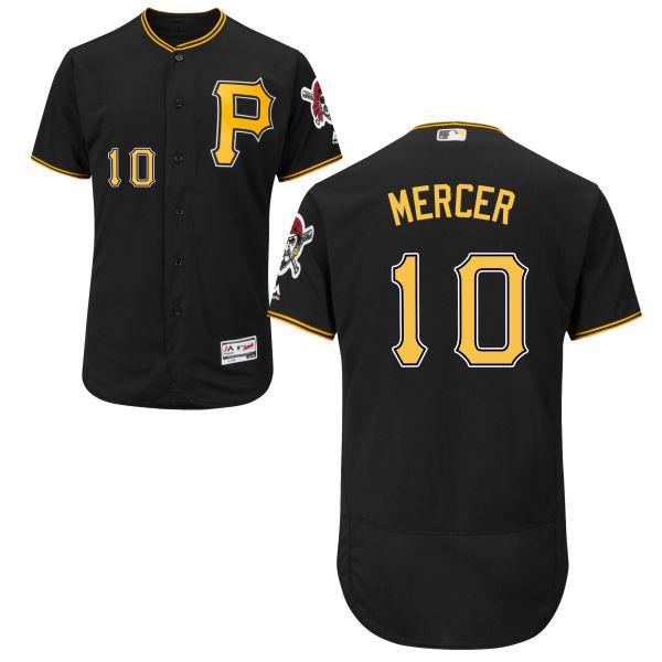 mens pittsburgh pirates10 jordy mercer black flexbase gray authentic baseball jersey 23