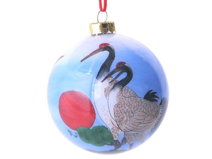 Three Cranes Eglomise Ornament