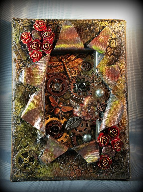 Steampunk Art Gears and Bugs 5 x 7 Small Mixed by pixiesinthehouse, $34.00