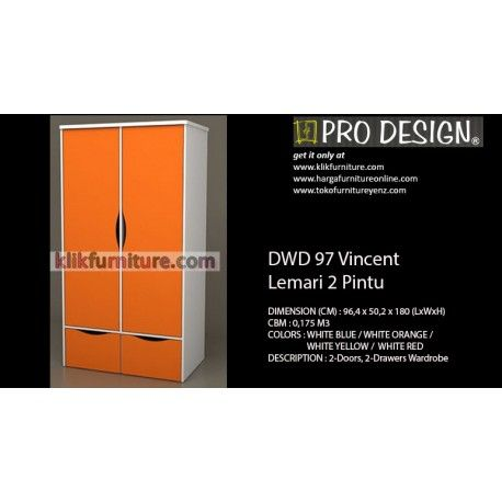 Harga Lemari Anak DWD 97 Vincent Pro Design Condition:  New product  Ukuran (CM) : 96,4 x 50,2 x 180 (LxWxH) Tersedia warna : WHITE BLUE / WHITE ORANGE / WHITE YELLOW / WHITE RED kualitas premium