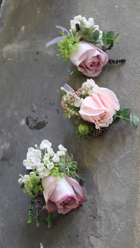 Nice buttonholes: Flower Design Events: The Wild & Wonderful Hedgerow Styled Wedding Day at The Inn at Whitewell of Angharad & Scott