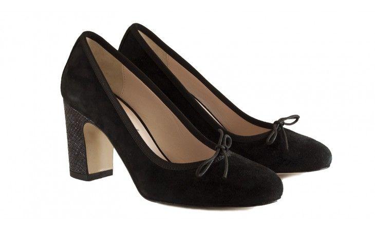Ballerine decolletè nere in camoscio, con tacco alto 4 cm effetto lucertola nero - BLACK FRIDAY - BallereTTe
