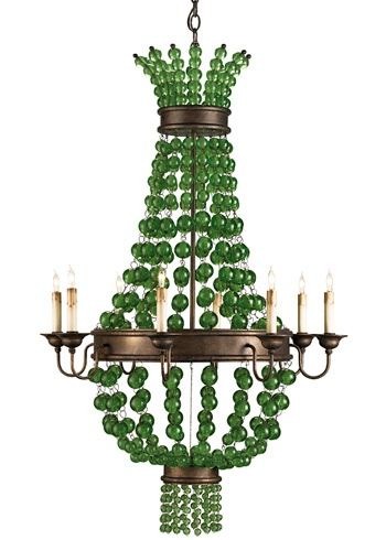 """Draped orbs of green glass balls make the Goddess Green chandelier by Currey and Company design formal and eccentric at the same time. The sizable wrought iron frame and wooden components make it a standout in any setting. The lantern is hand finished in cupertino using a process that lends an air of depth and richness that cannot be achieved by less time-consuming finishing methods.  30""""W x 30""""H x 49""""H"""