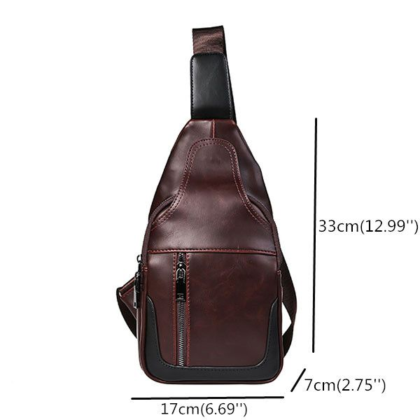 Men Vintage Chest Bag Leisure PU Leather Crossbody Bag is worth buying -  NewChic Mobile 9427c5de5fc15