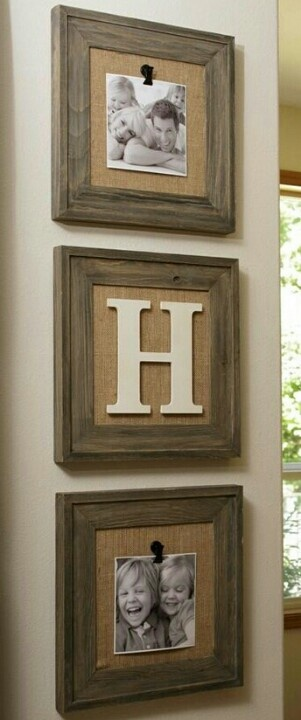 Rustic... wood frame, burlap, & whatever you want to display
