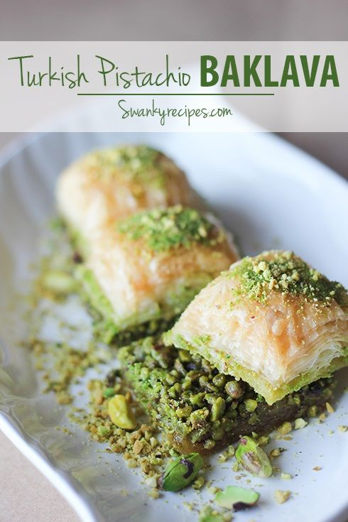 Baklava - Authentic Turkish Baklava with flaky layers of phyllo dough and sugar honey soaked pistachios.