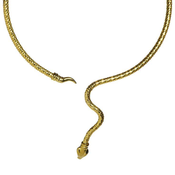 Veronese, collana rigida in argento 925 placcato oro giallo, a forma di serpente.