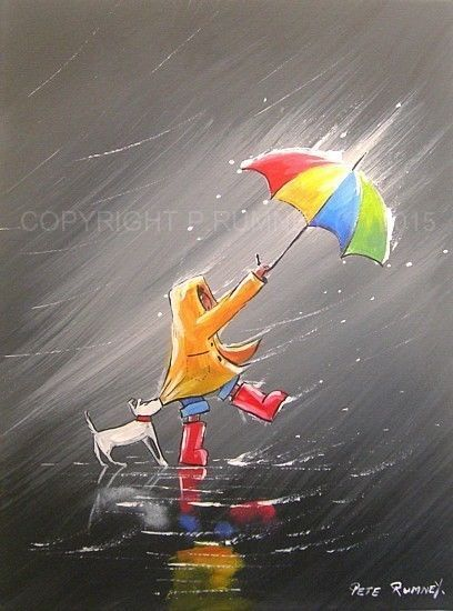 PETE RUMNEY FINE ART MODERN ACRYLIC OIL ORIGINAL HOLD ON TIGHT UMBRELLA PAINTING in Art, Artists (Self-Representing), Paintings | eBay
