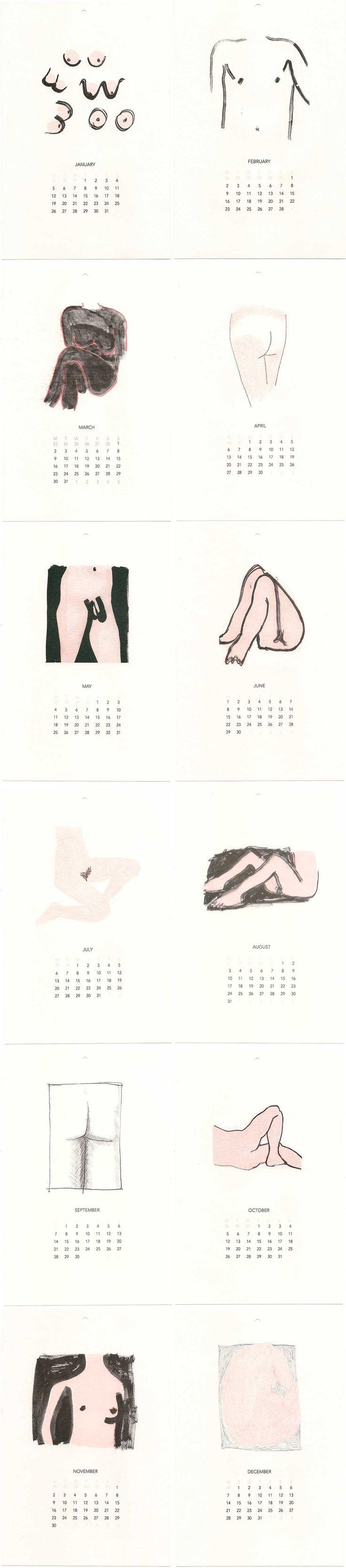Illustrated Nudie Calendar by Anna Gleeson