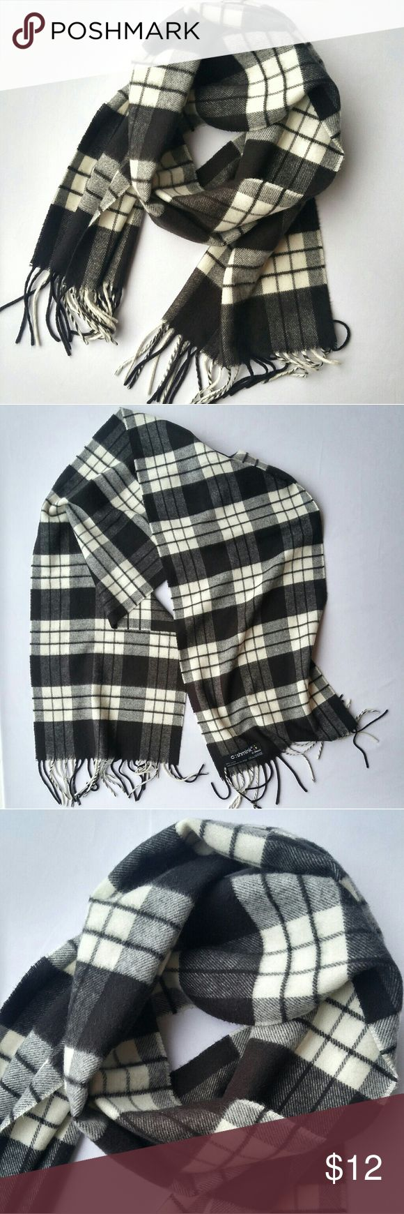 "Cashmink Black & Cream Plaid Acrylic Fringed Scarf Luxurious, super soft texture Acrylic fiber, made in Germany Black & off-white color Excellent pre-owned condition, no stains, holes, or pilling 11.5"" x 54"", not counting fringe Fringe is approx. 3.5"" long Cashmink Accessories Scarves & Wraps"