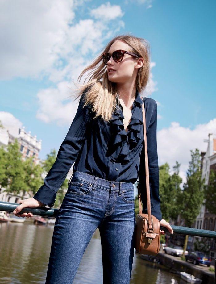 Queeny van der Zande wears Sunglasses, Tuxedo Ruffle Top in Stretch Silk Georgette, Toothpick Jean in Clanton Wash and Signet Bag in Italian Leather for 2016 lookbook