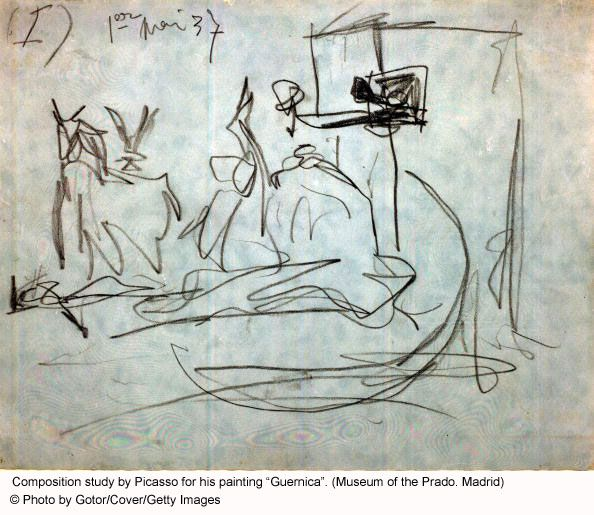 """Photo Gallery of Famous Paintings by Famous Artists: Sketch by Picasso for his Famous """"Guernica"""" Painting"""