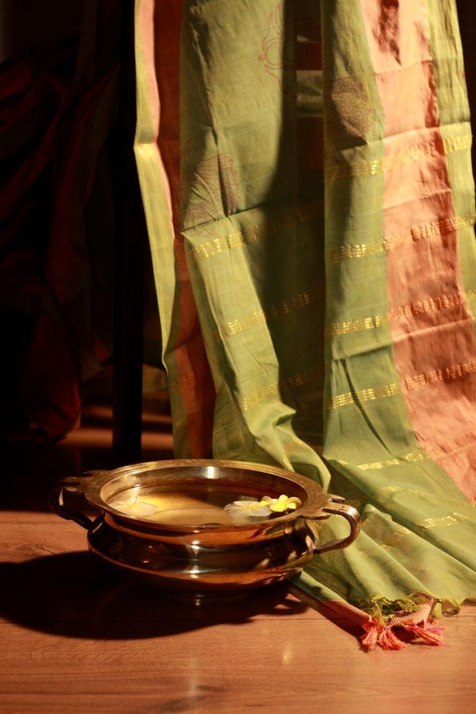 Kanchi cotton saree with Lotus print