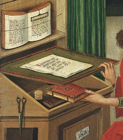 Desk. Detail from St Mark the Evangelist by Gabriel Malasskircher. 1478 Held at Museo Thysson-Bornemisza, Madrid