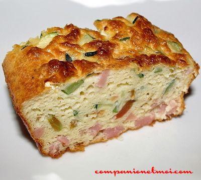 Cake au jambon et courgettes