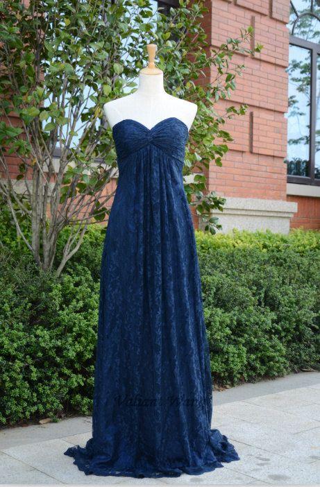 Navy Blue Sweetheart Lace Wedding Bridesmaids Dress Floor ...
