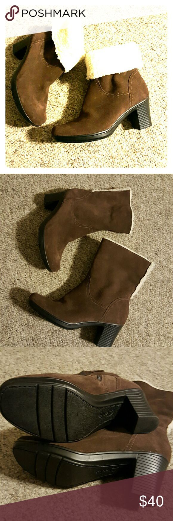 """Clarks Brown Suede Noots Brown leather upper with gaux fur trim. They were eorn only a couple of times. Very clean both inside and outside. The heel is 2.5"""". Clarks Shoes Ankle Boots & Booties"""