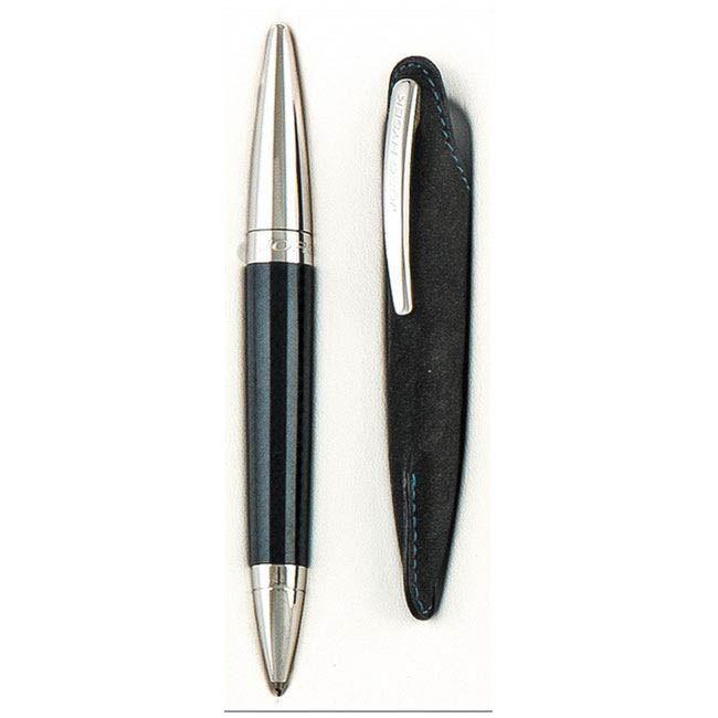 BOLÍGRAFO JORG HYSEK Cuerpo en resina negra con capuchón en metal rodio y estuche de cuero negro comportando el clip del bolígrafo.Caja original. Nuevo. A estrenar.