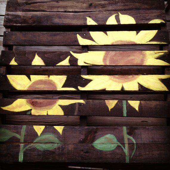 Sunflower Pallet Art on Etsy, $60.00