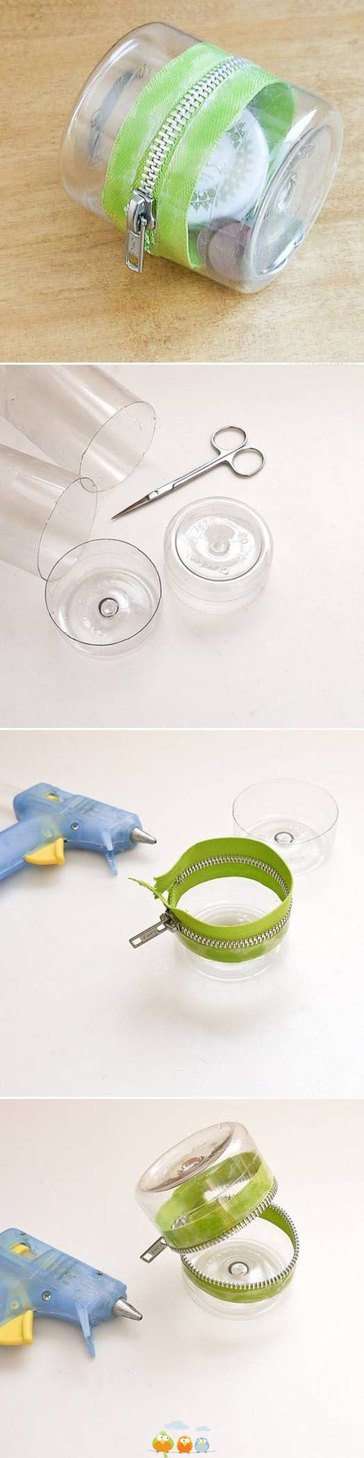 zippered recycled bottles makes a cool storage container