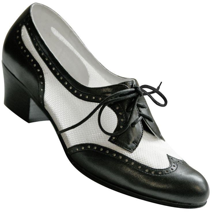Aris Allen Women's Black and White 1950s Mesh Wingtip Swing Shoes – dancestore.com