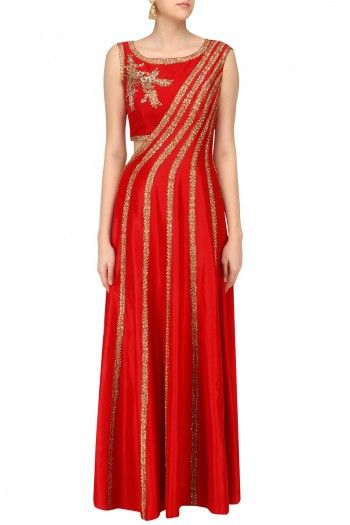 Reeti Arneja Red Embroidered Anarkali Style Gown with Separate Crop Top #happyshopping #shopnow #ppus