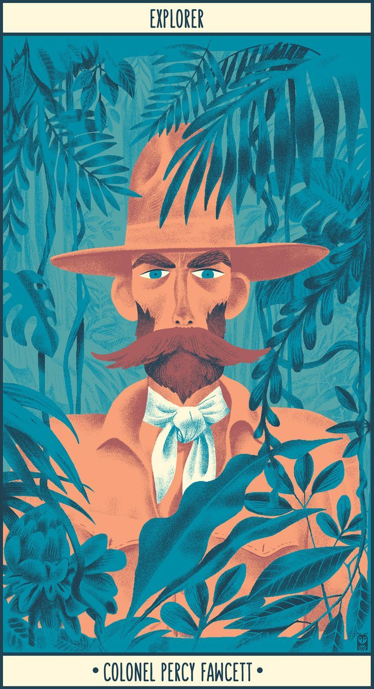 Colonel Percy Fawcett portrait illustration character design
