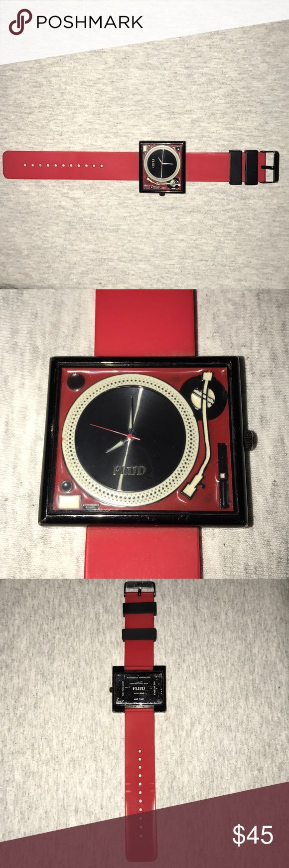 """Red FLUID """"Disc Jockey"""" Watch Nice FLUID """"Disc Jockey"""" Watch with Stainless Steel Backing-- Made in Japan. Good condition, expected wear and tear from use. FLUID Accessories Watches"""