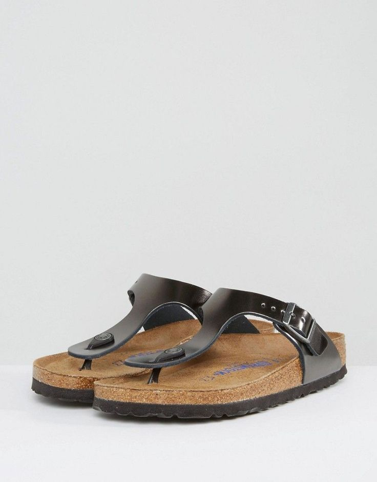 Birkenstock Gizeh Metallic Anthracite Leather Narrow Fit Flat Sandals