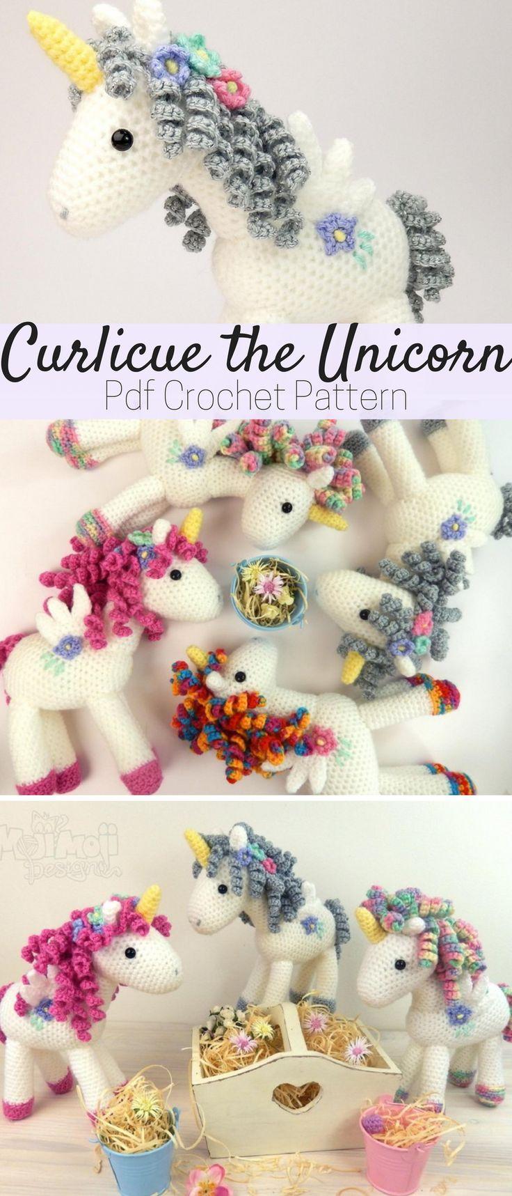 Cute Curlicue the Unicorn crochet pattern. Make as many unicorn stuffed toy you want. #unicorn #ad #crochet #pattern
