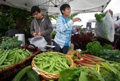 At the Everett Farmers Market, Joseph Rojas and cousin Daniel Mendez bag vegetables harvested from their grandparents' farm.