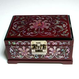 Mother of Pearl Cherry Jewelry Box with Wooden Arabesque Flower Design