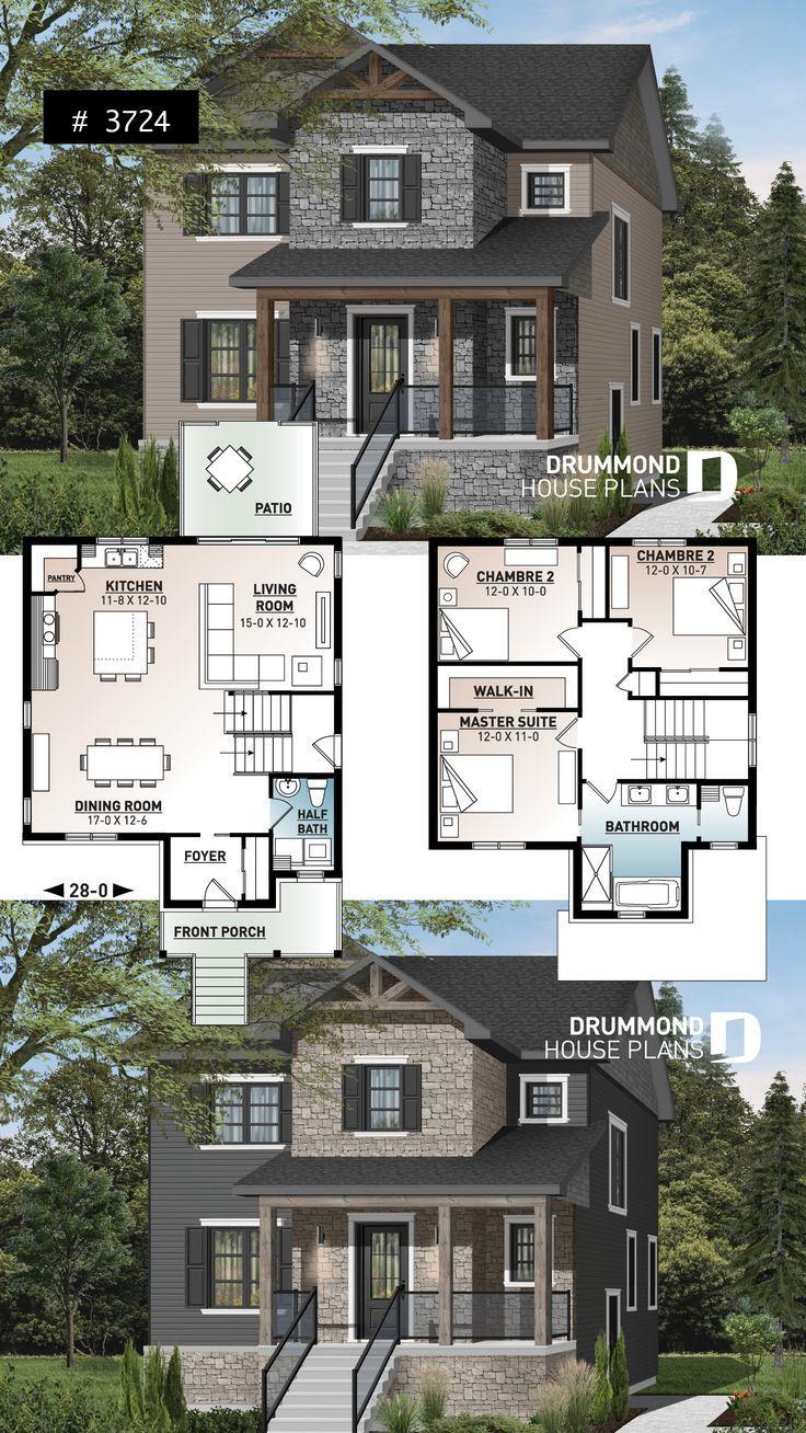 Wirtschaftlich Moderne Rustikale 2 Stockige Hausplan Offenes Konzept Grosse Kucheninsel 3 Schlafzimm Craftsman House Plans Sims House Design Sims House Plans