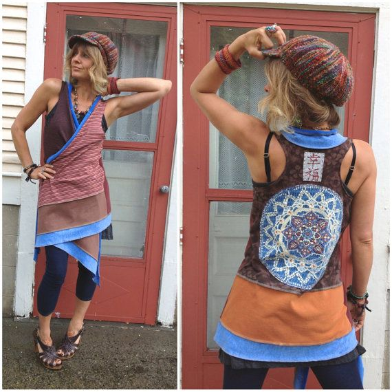 "Eco Racer style,Wrap VEST, eco clothing,patchwork,hippie,festival, asymmetrical, mandala  and chinese ""happiness""appliqué, by Zasra"