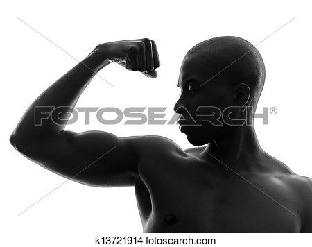 africaine, noir, muscle fléchissant, silhouette Voir Image Grand Format