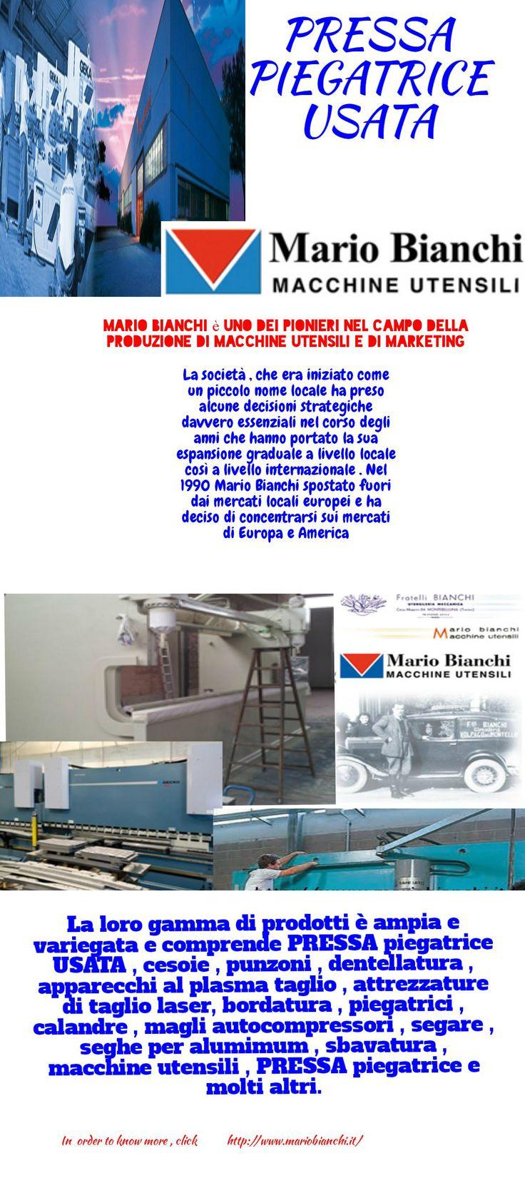 Al portafoglio di prodotti Mario Bianchi è ampia e variegata e comprende PRESSA piegatrice USATA , cesoie , punzoni , dentellatura , attrezzature taglio al plasma , macchine taglio laser . Per ulteriori ERAD questa infografica