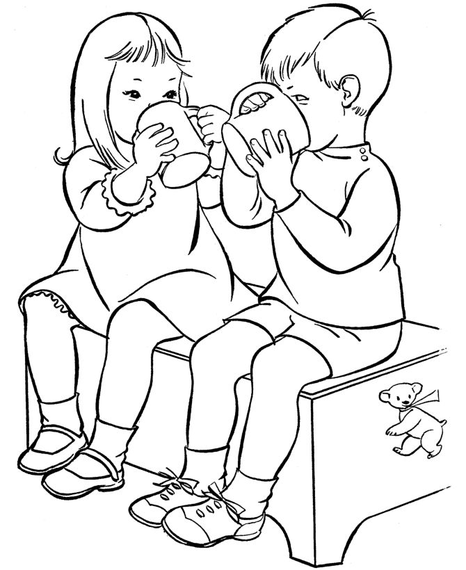Valentines Day Kids Coloring Pages Sharing Activity Page Sheets Cutout