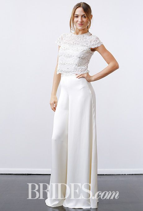 """Brides.com: . """"Cosima Top and Castilia Trousers"""" two piece pants and top combination with a lace top and satin wide-leg pants, Temperley"""