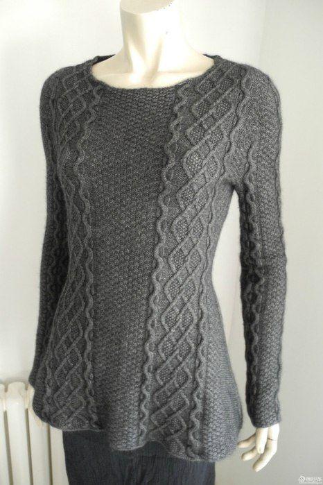 Серый пуловер, связанный по кругу от горловины. Обсуждение на LiveInternet…